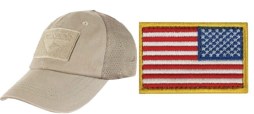 Amazon.com: Condor Mesh Tan Cap + USA FLAG PATCH RED WHITE BLUE RIGHT: Sports & Outdoors