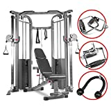XMark Functional Trainer Cable Machine with Dual 200 lb Weight Stacks, an Upgraded Accessory Package and an Adjustable Flat Incline Decline Bench (Gray)