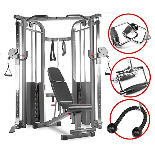 XMark Functional Trainer Cable Machine (XM-7626.1) with an Adjustable Flat Incline Decline Bench (XM-7630) and an Upgraded Accessory Package (XM-3705) (Best Cable Crossover Machine)