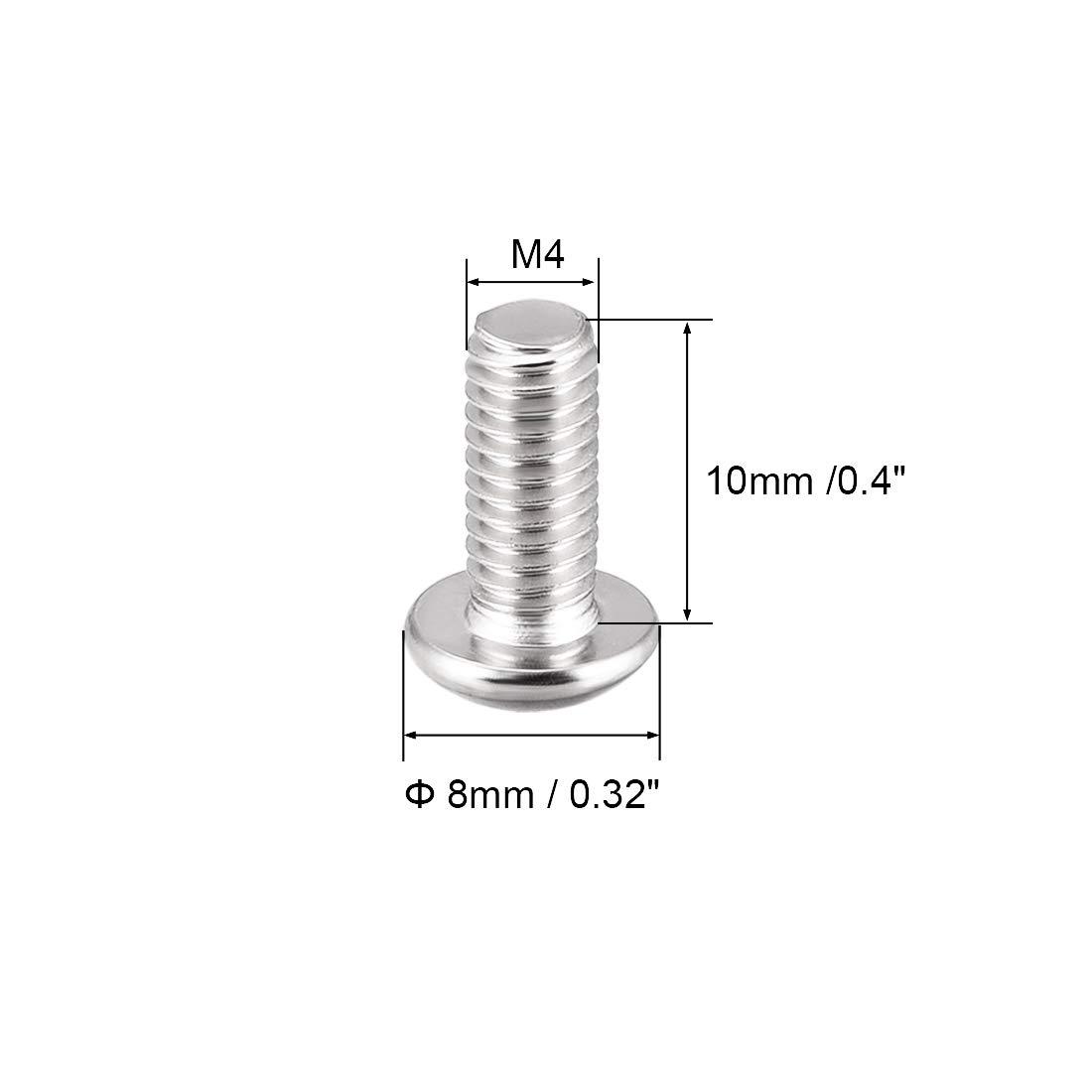 sourcing map M4x10mm Vis /à m/étaux t/ête ronde /à six pans creux Boulon 20Pcs