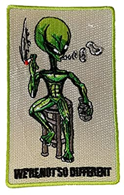 "Alien on Barstool ""We're Not So Different"" - Novelty Iron On Patch Applique"