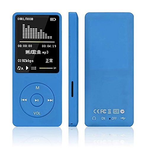 Finedayqi ❤ 70 Hours Playback MP3 MP4 Lossless Sound Music Player FM Recorder TF Card (Blue)