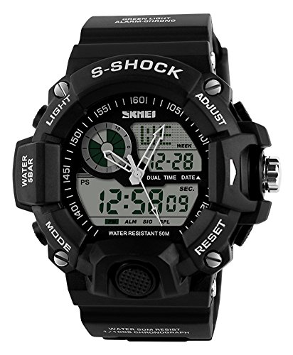 Shot-in Waterproof Digital LED Alarm Date Mens Wrist Watch Military Sport Analog Watch (black) (Omega Stopwatch)
