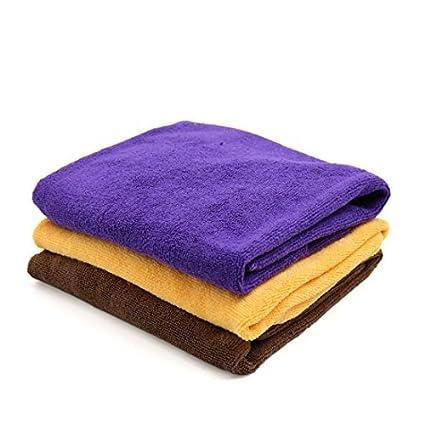 eDealMax 3 piezas Amarillo púrpura del café del coche del Color Pulido de limpieza Lavado de