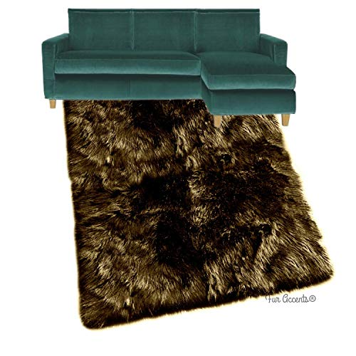 Shag Carpet - Extraordinary Faux Fur Rug - Accent - Area Rug - Throw Rug and Design - Hand Made in The USA (10'x14', Brown)