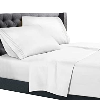 Queen Size Bed Sheets Set White, Bedding Sheets Set on Amazon, 4-Piece Bed Set, Deep Pockets Fitted Sheet, 100% Luxury Soft Microfiber, Hypoallergenic, Cool & Breathable