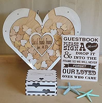Wedding Guest Book Alternative Drop Box Package with 120 Hearts