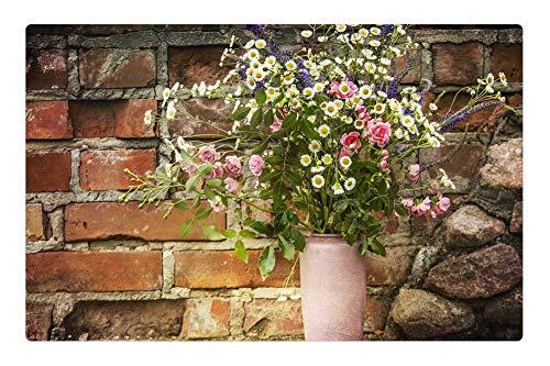 Indoor Floor Rug/Mat (23.6 x 15.7 Inch) - Bouquet Pitcher Flowers The Beasts of The -