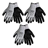 3 Pack Samurai CR700 Cut Resistant Nitrile Coated Work Gloves, Salt and pepper Tuffalene® brand HDPE shell and Premium Nitrile Coated Foam Grip on Palm & Fingers. Sizes S-XL (Medium)