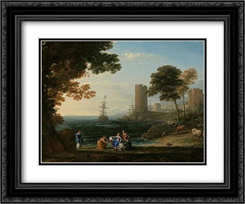 - Coast View with The Abduction of Europa 2X Matted 24x20 Black Ornate Framed Art Print by Lorrain, Claude