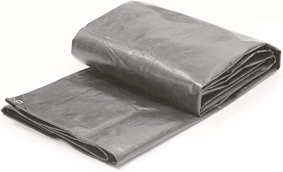 Toolman 12 x 16 Feet Gray Multi Purpose Waterproof Poly Tarp Cover 5 Mil Thick 8 x 8 Weave QTHTE005