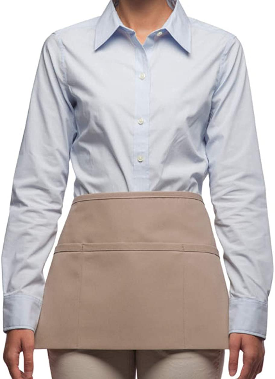 Rexzo Unisex 3 Pocket Deluxe Waist Apron for Waiters, Waitresses, and Food Servers– Made in the USA - Many Colors