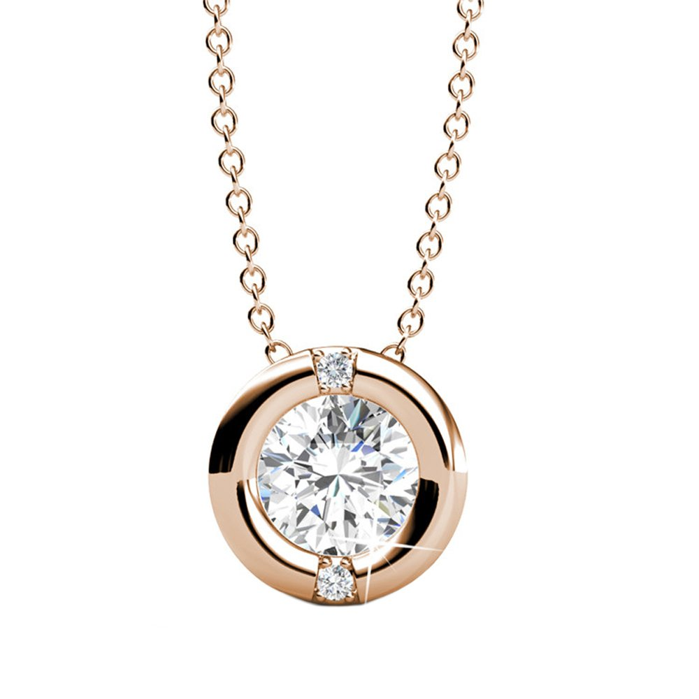 Cate & Chloe Zara 18k Rose Gold Pendant Necklace, Sterling Silver Necklace, Round-Cut CZ Solitaire, Crystal Necklace, Chain Necklace, Best Necklace for Women, Teens, Girls