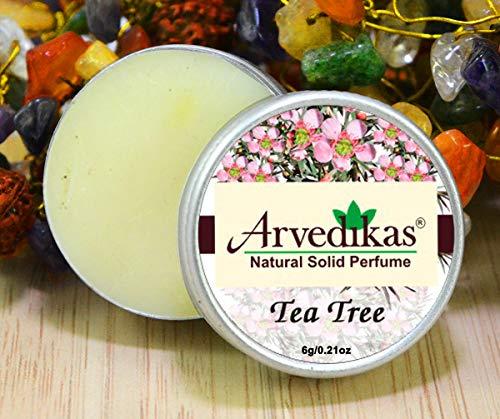 Arvedikas Tea Tree Natural Solid Perfume Beeswax/Mini Jar/Floral Fragrance/Tea Tree Perfume/Essential Oil Blend Perfume/Organic Vegan Travel Perfume/Women Aromati Scent / 6g (30 -