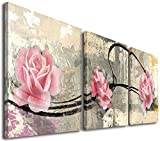 Image of Mon Art 12In x 12In x3 Pics Pink Flower Canvas Art Wall Art Home Decor Wall Art Modern Canvas Home Decor Decoration Bathroom Bedroom Living Room Set of 3 Stretched and Framed Ready to Hang
