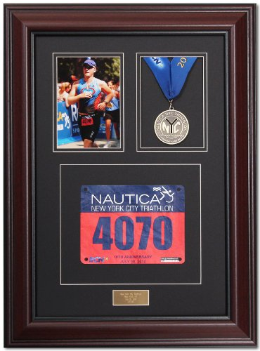 - Triumph Marathon and Triathlon Photo, Finishing Medal and Race Bib Framing Kit - Library Mahogany
