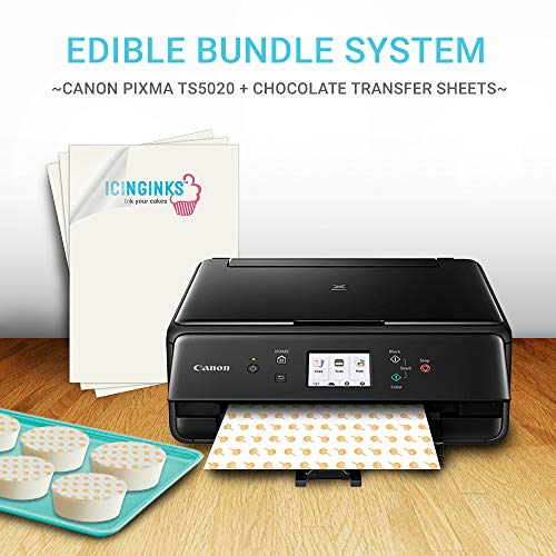 Icinginks Chocolate Transfer Sheets Edible Printer - Includes 25 Blank Chocolate Transfer Sheets + Large Size Edible Ink Cartridges