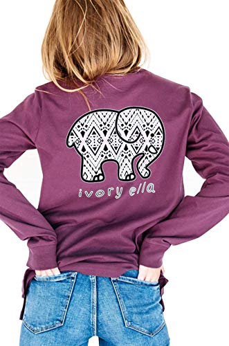 Elephant Long Sleeve Shirt - Women Long Sleeve T-Shirt Elephant Letter Graphic Print Casual Crew-Neck Tunic Blouse Tops (X-Large, Purple)