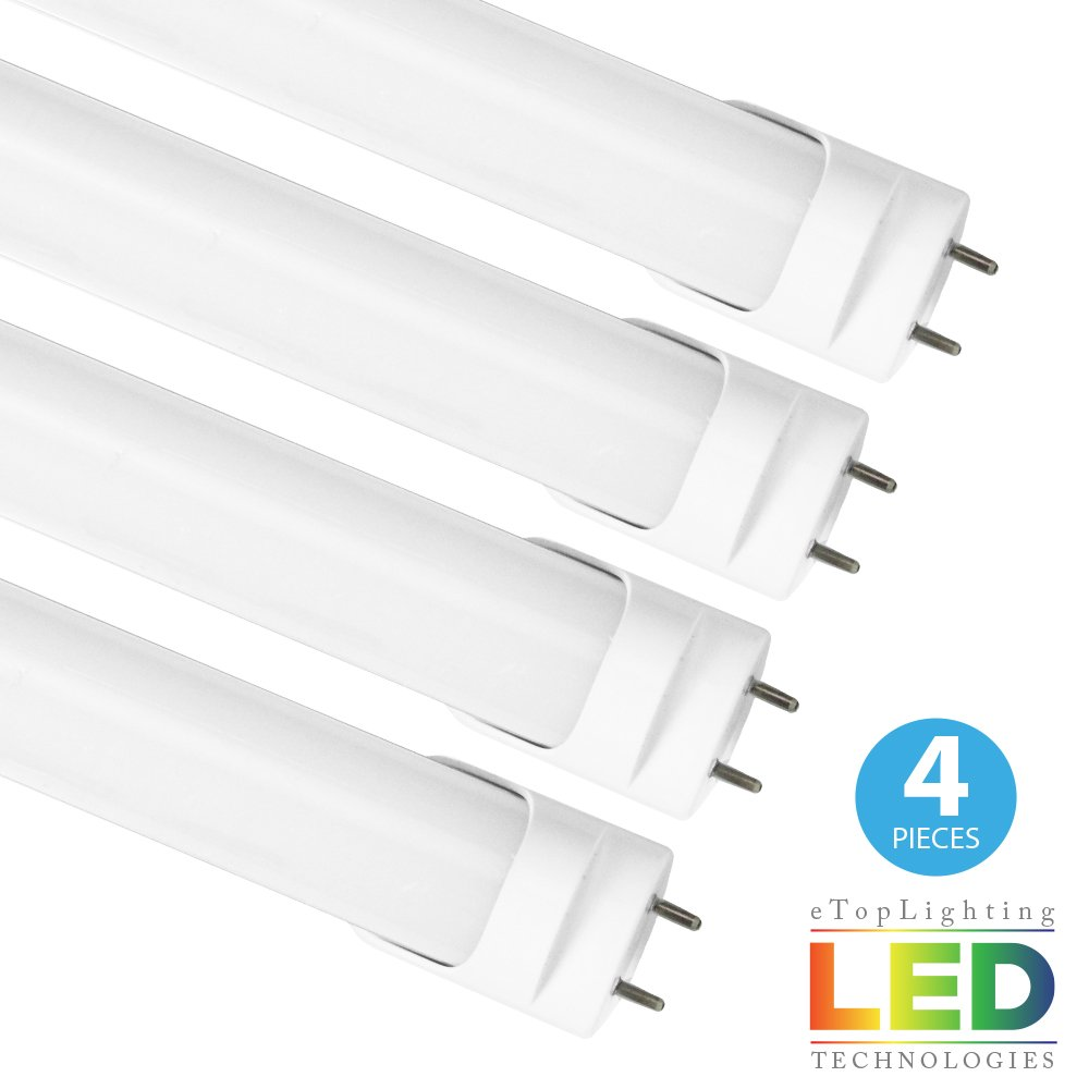 eTopLighitng |4 Pack| 18W Equivalent T8 4ft LED Tube Light Bulb Double Pin Connector UL Listed DLC Qualified RoHS Certified 10mm Prong Gap 6000K APL1721