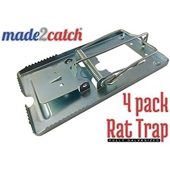 made2catch Classic Metal Rat Trap Fully Galvanized - 4 traps - Humane Rat Traps That Work - Snap Rat Trap - Durable Reusable Rat Trap - Effective Rat Traps