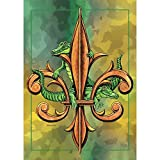 Alligators on Fleur de Lis on Watercolor Green 44 x 30 Rectangular Screenprint Large House Flag
