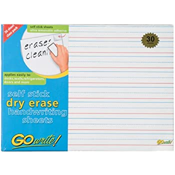 Amazon.com: GoWrite! Dry Erase Self-Adhesive Handwriting Sheets ...