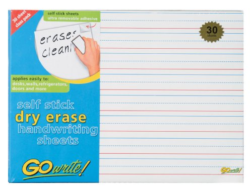 GoWrite! Dry Erase Self-Adhesive Handwriting Sheets, 11-Inches by 8.25-Inches, 30 Pack (ASB8511LN) by GoWrite!