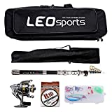 OUTLIFE Fishing Tackle Kit with Spinning Rod Reel Combos Line Lures Hooks Travel Bag, for Sea Saltwater Freshwater Boat Fishing, Starter Professional Full Set (2.4M)