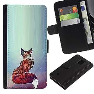 KLONGSHOP / Tirón de la caja Cartera de cuero con ranuras para tarjetas - Red Cute Animal Bright Art Beautiful - Samsung Galaxy S5 Mini, SM-G800, NOT S5 REGULAR!