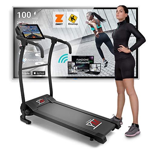 YM TAP100APP Elektrische Opvouwbare Loopband, 10 km/u, Compatibel met APP Zwift en Kinomap Video/Coach Multiplayer…