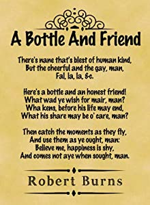 A4 Size Parchment Poster Classic Poem Robert Burns A Bottle and ...