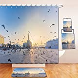 Beshowereb Bath Suit: Showercurtain Bathrug Bathtowel Handtowel flying doves over fanar qatar islamic cultural center in doha 366223559