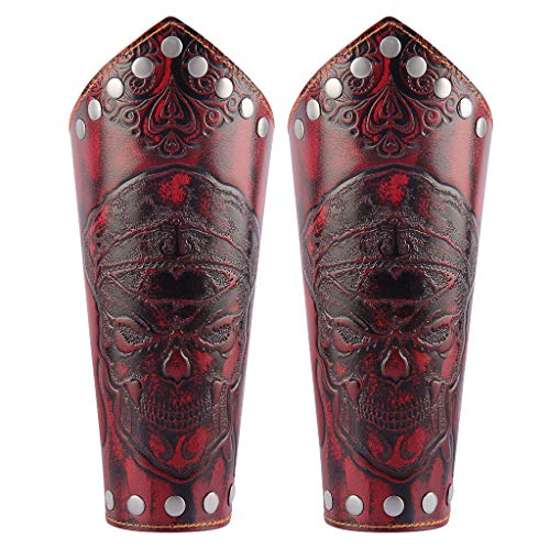 Jeilwiy Leather Arm Bracers for Men Wristband Gauntlets Medieval Arm Armor Cuff Skull Jewelry Teen, Boys Gifts Red ()