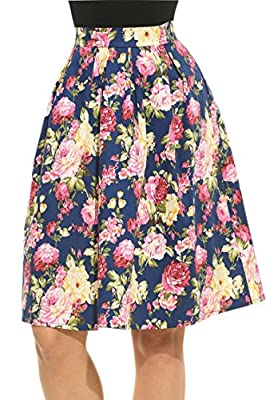 Meaneor Women's High Waisted A line Street Skirt Skater Pleated Full Midi Skirt
