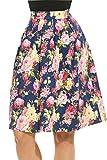 Meaneor Women's High Waisted A line Street Skirt Skater Pleated Full Midi Skirt