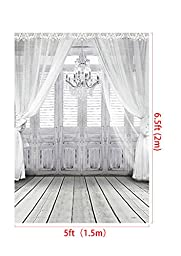 5 x 6.5 ft Photography Backdrop Fundo White Chandelier Doors 3D Baby Photography Backdrop Background LK 2086