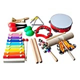 Todder Musical Instruments Percussion Toy, Toddlers Percussion Toys,Wooden Rhythm Band Set,Included Maracas/Shaker Eggs/Hand bells/Wrist Bells/Triangle/Rhythm Band/Drum for Kids, Toddler, Children 20 PCS