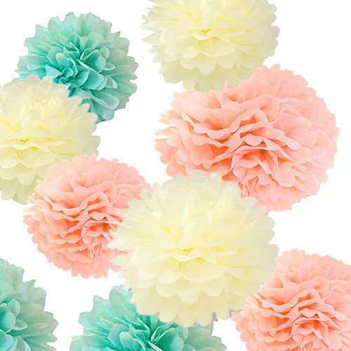 (Fonder Mols 12pcs Large Sizes 8'' 10'' 12'' 14'' Ivory Peach Mint Party Tissue Pom Poms Flowers Decorations for Weddings, Birthday, Bridal, Baby Showers Nursery Wall)