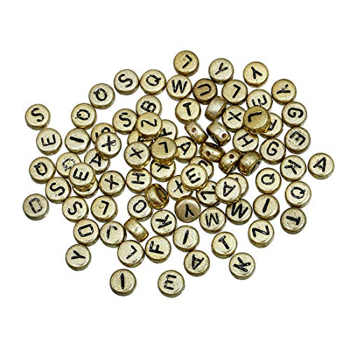 (iZasky Pony Beads Letters 7mm Color Gold Tone 500Pcs - Acrylic Bead Mixed Alphabet A - Z Flat Round Spacer for Making Bracelets, Necklaces, Key Chains and Jewelry)
