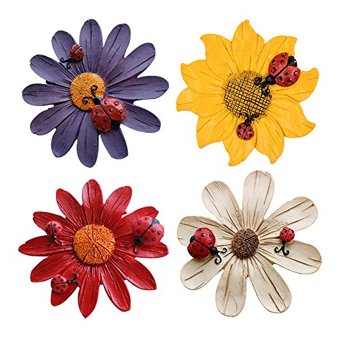 YGMONER Set of 4 Three-dimensional Flower Design Colorful Magnet Sticker For Car Refrigerator Garden Fence Door Wall