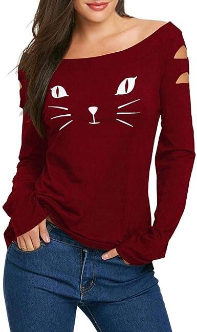 Betrothales Suéter Mujer Camisas Blusa Gato Camisetas Hombro Mujeres Camisa Manga Larga Blusa Impreso Corte Otoño Camiseta Slim: Amazon.es: Ropa y accesorios