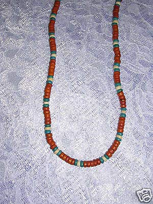 Terra Cotta Turquoise NAT White Coco Beads 18 Necklace -