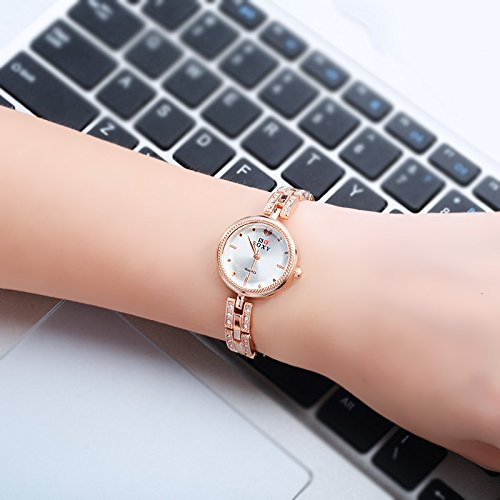 Women's 'Love Scale' Quartz Rose Gold Casual Wrist Watch and Bangle with Crystal, Fashion Dress Bracelet Watches for Women Ladies by KOKOG (Image #1)