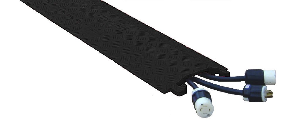 Fastlane FL1X4-B Polyurethane 1 Channel Drop Over Cable Protectors with L-Shaped Connectors, Black, 36'' Length, 10.75'' Width, 1.5'' Height