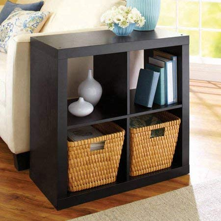 Better Homes and Gardens* Wood Storage Square Organizer 4-Cube Bookshelf in Solid Black