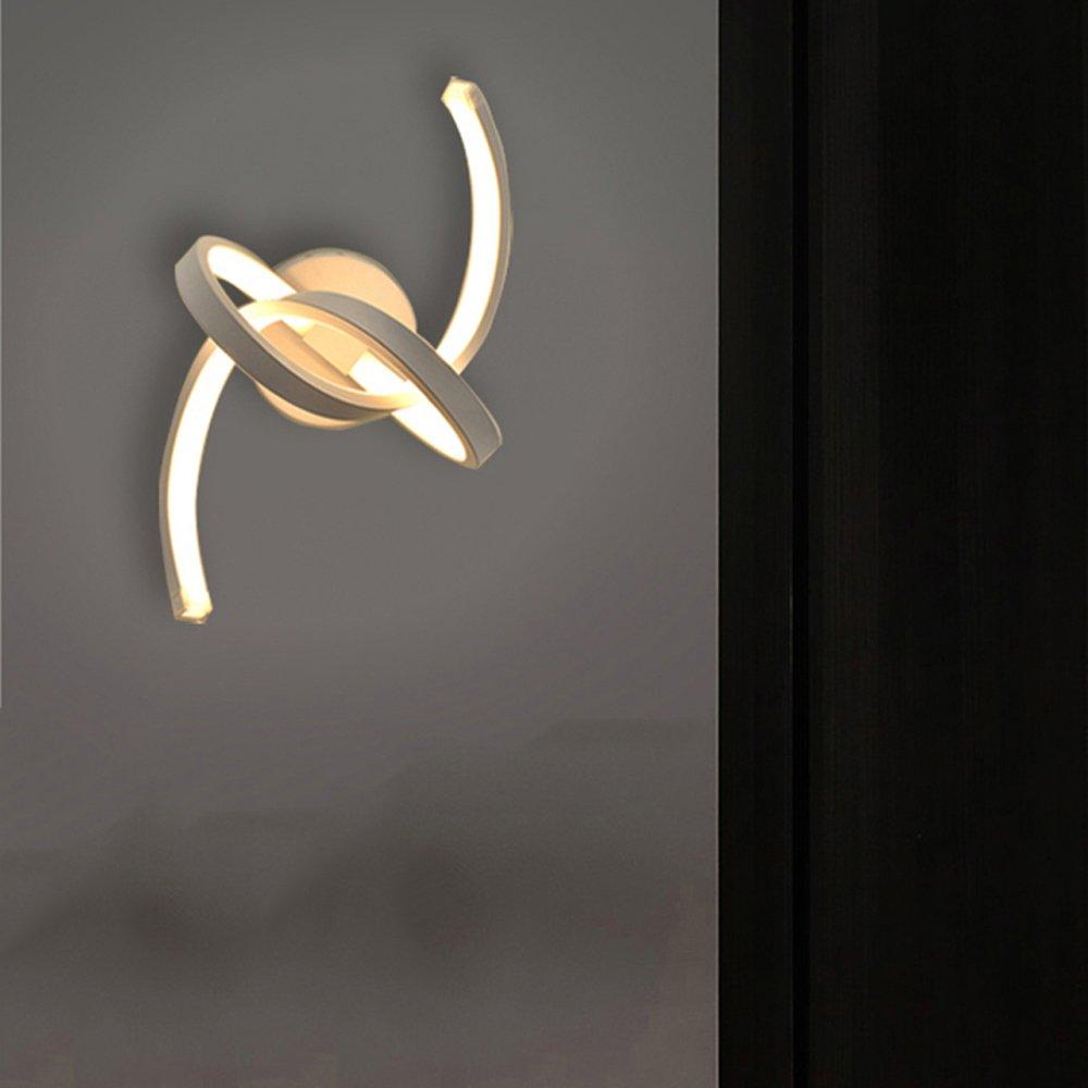 Modeen Lampada da parete a spirale LED 18W Soggiorno Lampada da comodino Camera da letto Luce semplice moderna in alluminio acrilico bianco Applique da parete