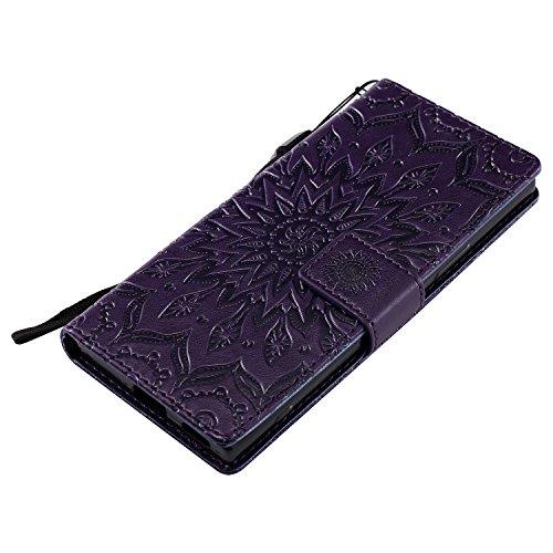 Funda para SONY Xperia XA1, MAGQI Suave PU Cuero Cartera Cubierta Repujado Mandala Girasol Stand Función Flip Libro Estilo Protección Shell con Imán Cierre Ranuras de Tarjeta-Azul Púrpura