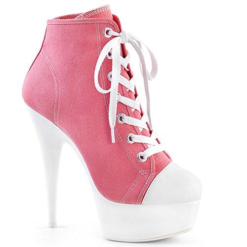 PleaserUSA Damen Stiefeletten Plateau Neon Booties Sport Delight-600SK pink Pink