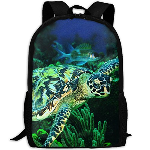 Cool Sea Turtle Unique Outdoor Shoulders Bag Fabric Backpack Multipurpose Daypacks For Adult Leather Back Sea Turtle