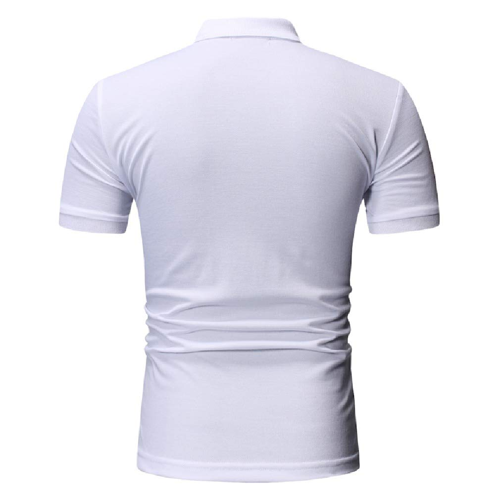 Vska Men Fashion Polo Shirt Bussiness Color Block Silm Fit Tees